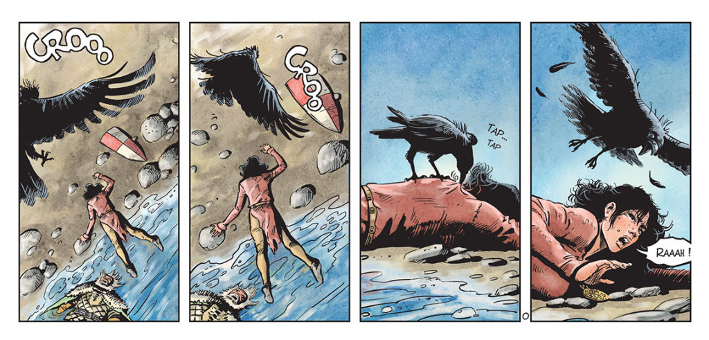 Kriss de Valnor naufragée sur la plage